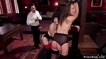 Master whip butts to Asian and brunette