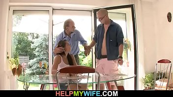 Old hubby cuckolded by his young wife