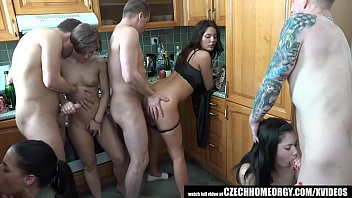 Group sex party home video Grupen uncensored home sex in kitchen