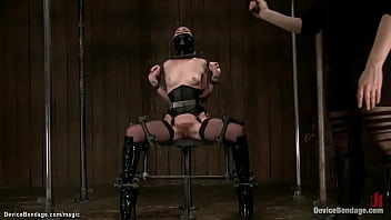 Chained blindfolded slave whipped 5 min