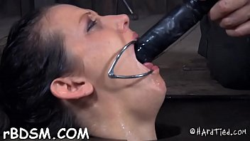 Girl gets her neck restrained and knockers clamped