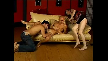 Horny girl Ann Parker and guy share a cock in threesome
