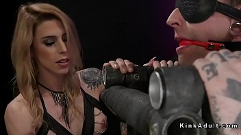 """Inked male in bondage gets trannys dick <span class=""""duration"""">5 min</span>"""