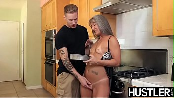 Old mature vs young Mature slut leilani swallows cock before kitchen dicking