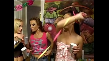 Zafira, Louise Black, Veronica Sanches celebrate Jennifer Love's birthday with drenching each other with sparkling wine and sprinkling with confetti before playing with dildos