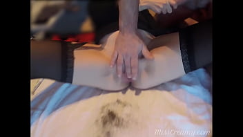 Shaving naughty sister's pussy Fingering and squirting with hard orgasm - MissCreamy