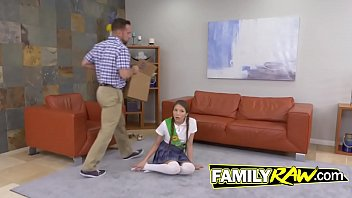 Pigtailed cutie banging her stepfather before school
