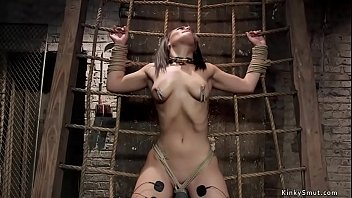 Bound slave punished with electricity