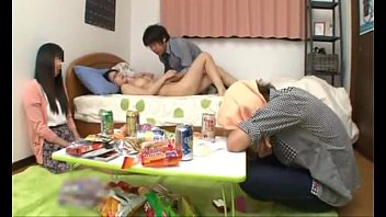 Japanese schoolgirl with perfect tits fucking a friend while her boyfriend sleep thumbnail