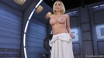 Big tits curved blonde fucks machine