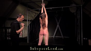 Ruthless stimulation for slave hairy pussy restrained in bondage sub