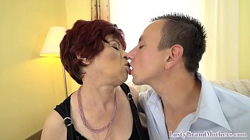 Nasty granny grinds on younger guys cock