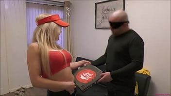 Bratty blonde pizza-delivery girl gets Spanked over a woman's knee | Tied-up using bondage tape | Then strapped in a nappy (diaper) to really humiliate her ~ As punishment for her slutty behaviour!
