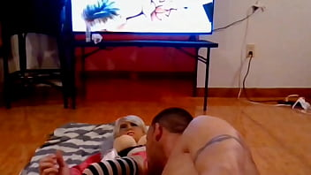 Luvs2cumm69 fucking his sexdoll in the middle of the living room floor 22 min
