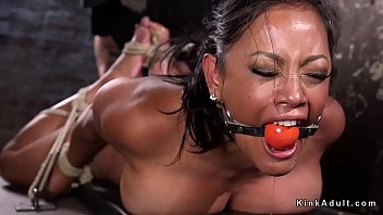 Hogtied asian women Huge tits slave made to squirt in dungeon