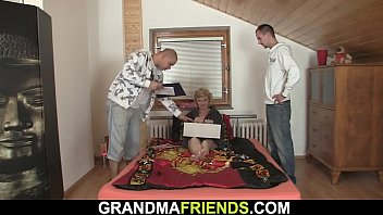Small titted slim old woman pleases two men