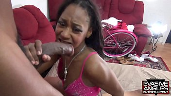 EVASIVE ANGLES Adorable Black Babe Lexi A'mor Takes  Two Big Dicks in Her Mouth and Pussy 15 min