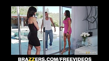 Two big-tit brunette MILF's seduce and fuck their poolboy 7 min