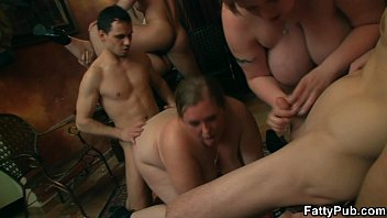 Chubby party girl takes cocks from both sides