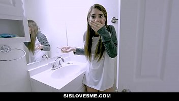 SisLovesMe - Hot Stepsis Fucks And Accidentally Bites Stepbros Cock