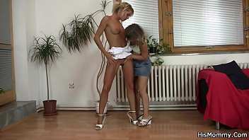 Guy shocked finding his teen gf toying mom
