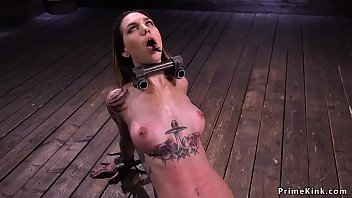 Slim alt slave gets zipper in device bondage