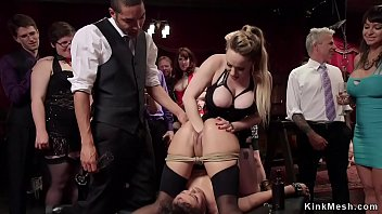 Petite slave gets fisted in bdsm party