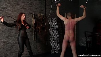 Mistress Rebekka Knows How To Use a Whip - Skilled Caning and Whippping of Suspended Slave