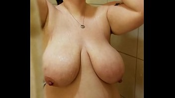 Bbw huge tit wife in the shower 1