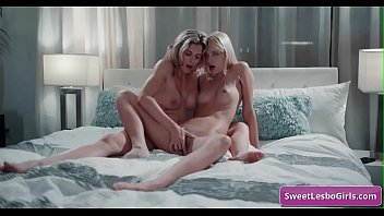Sexy lesbian blonde busty babes Lena Paul, Sinn Sage eating each others shaved pussy for intense orgasms