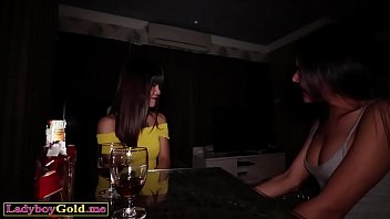 Dirty threesome fuck with petite asian ladyboy teens