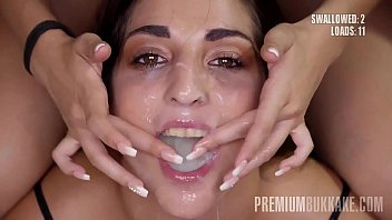 Slender Spanish girl with cute natural tits swallows series of 10-15 huge mouthful cumshots and then drinks a bowl with a cold sperm, totaling 94 big loads