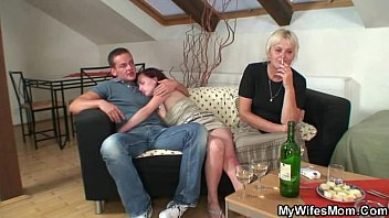 His wife comes  in and sees him fucking her ol  fucking her old mom