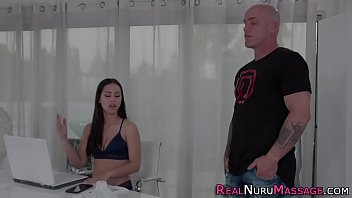 Teenage masseuse with great tits