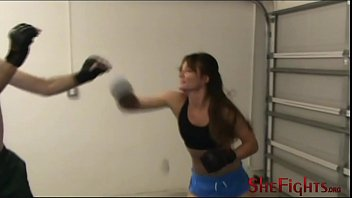 MMA Fight: Cindy vs Headgear Guy - Painful Struggle with Cute Girl