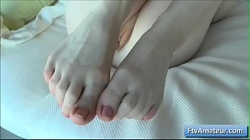 Kinky blonde young amateur cutie Alana rub her bald pink wet pussy with her toe