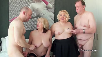 Two British mat ure blondes have a foursome e a foursome