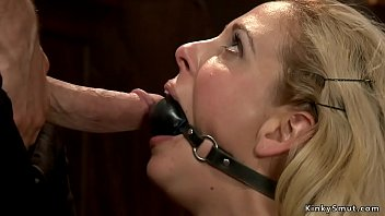 Tied to chair on her knees and gagged big tits blonde MILF gets big dick on her face then master rough fucks her in various positions on hogtie