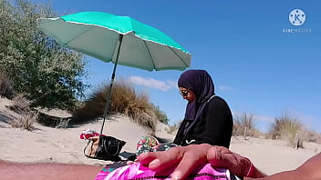 I shocked this muslim by pulling my cock out on the public beach, OMG her husband will be here soon 6 min