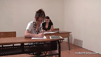 Candice michielle threesome movie French students hard ass fucked and fisted in ffm threesome in classroom