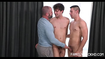 Horny Stepdad Invites Both His Stepson's Into His Room