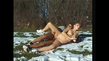 Snow bunny rides cock on the mountainside