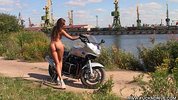 Boobs n bikes Fuckndrive.com: horny stunner on a hot bike