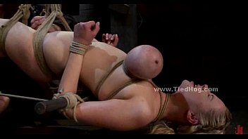 Hogtied lesbians - Blonde sex slave with large breasts