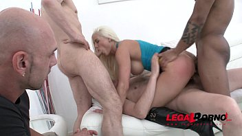 Blanche Bradburry assfucked hard by 3 studs in front of her real boyfriend