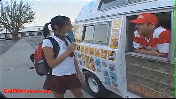 Gullibleteens.com icecream truck blond short haired teen fucked eats cumcandy
