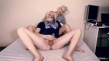 The Girl holds the Guy while he jerks off and cums - Amateur couple.