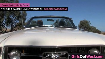 Sweet lesbian blonde licked and fingered in the car