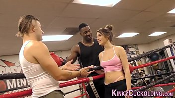Domina cuckolds in boxing gym for cum