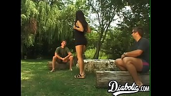 Naughty MILF DP banged during outdoor threesome
